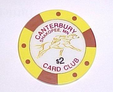 Canterbury Card Club Minnesota Casino $2 Poker Chip