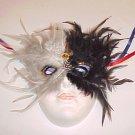 Masquerade Theater Ceramic Black White Feather Kabuki Mask