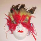Masquerade Theater Ceramic Red Yellow Feather Kabuki Mask