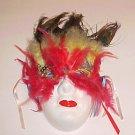 Masquerade Theater Ceramic Red Yellow Feather Kabuki Mask