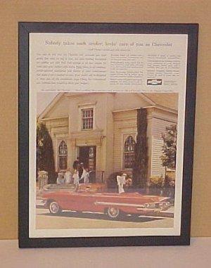 1960 Chevrolet Impala Vintage Magazine Ad With Glass Frame