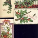 Lot of 4 Vintage HOLLY CHRISTMAS Postcards VP-6134