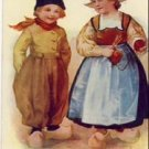 Vintage German Dutch Boy & Girl Postcard VP-6048