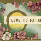Love to Father w/Horseshoe Vintage Postcard VP-4116