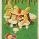 RABBITS PAINT EGGS FOREIGN EASTER POSTCARD VP-5141