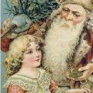 Victorian SANTA & Girl Christmas Postcard VP-6824