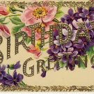 Beautiful Gold Border Birthday Postcard VP-5717