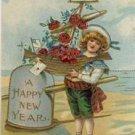 Boy W/Ship of Roses Vintage New Year Postcard VP-1779