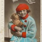 Little Girl- Red Beret Tinted Birthday Postcard VP-330