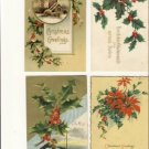 Vintage Lot of 4 Christmas Postcards W/ HOLLY VP-5668