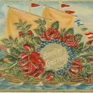 Sailboat of Roses Vintage Greeting Postcard VP-5852