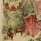Santa w/Deer & House Scenic Christmas Postcard VP-6633