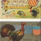 2 Vintage Patriotic Thanksgiving Postcards VP-6484