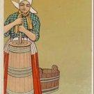 Woman Churns Butter Vintage Foreign Postcard VP-3640