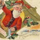 Santa Claus in Gold Bell Christmas Postcard VP-6573