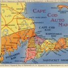 Cape Cod MA. Vintage Auto Map Postcard VP-1954