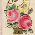 Heavy Embossed CHICK W/ROSES Easter Postcard VP-6031
