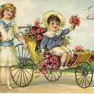 Children in Cart of Flowers New Year's Postcard VP-6606