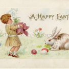 LITTLE GIRL & BUNNY VINTAGE EASTER POSTCARD VP-5129