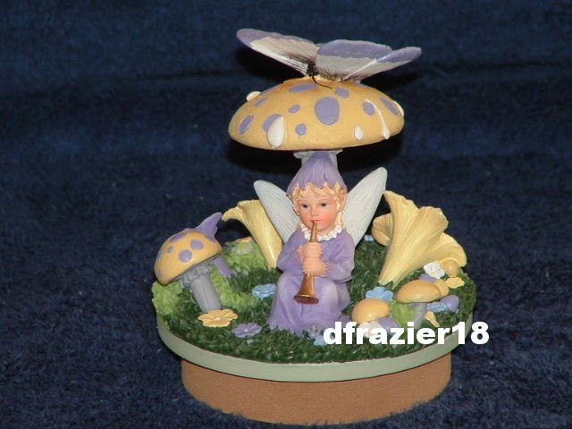 SPRING FAIRY Jar Candle Topper Faerie Sitting Under a Mushroom Playing the Flute