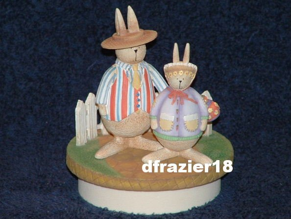 SUNDAY BEST BUNNIES Jar Candle Topper Bunny Rabbits Debbie Mumm Easter Decoration Decor