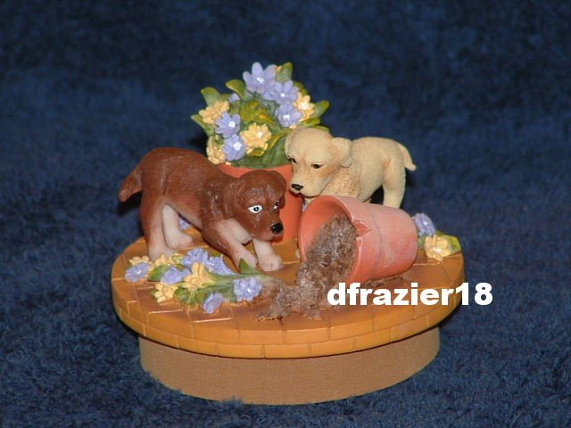 PLAYFUL PUPPIES Jar Candle Topper Puppy Dogs