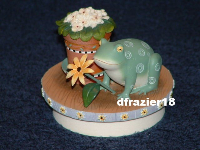 FROGGIE Jar Candle Topper Debbie Mumm Frog