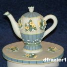 LILY OF THE VALLEY TEAPOT Jar Candle Topper Debbie Mumm Tea Pot