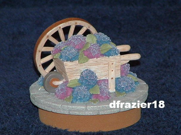 HYDRANGEA & CARTWHEEL Jar Candle Topper Hydrangeas Cart Wheel Gardening Theme Decor