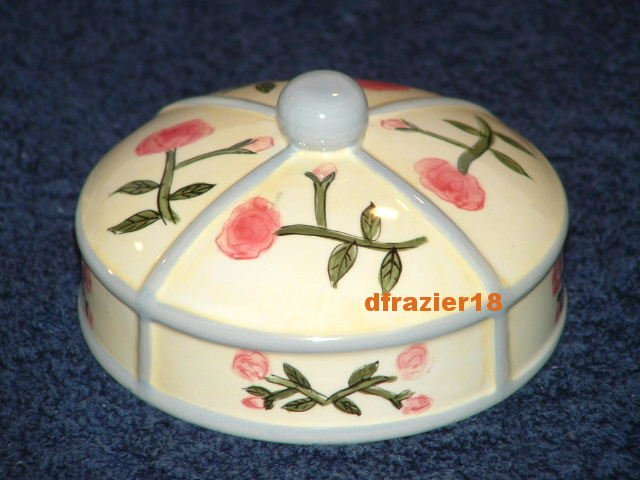 ROSE Jar Candle Topper Ceramic Dome Roses