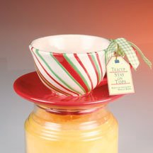 Stay On Top Jar Candle Topper Capper Christmas CANDY CANE STRIPED TEACUP