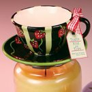 Stay On Top Jar Candle Topper Capper Berry STRAWBERRY TEACUP