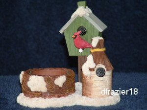 Tealight Tea Light Candle Holder Christmas Bird House WINTER BIRDHOUSE