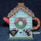 Tealight Tea Light Candle Holder Debbie Mumm CHRISTMAS BIRDHOUSE TEAPOT