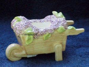 Tealight Tea Light Candle Holder Wheelbarrow with Purple SPRING FLOWERS