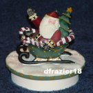 CANDY CANE SLEIGH SANTA Jar Candle Topper Debbie Mumm Christmas Spirit Decoration