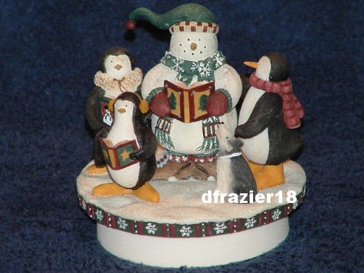 CAROLERS Jar Candle Topper Debbie Mumm Christmas Penguins Snowman Decoration
