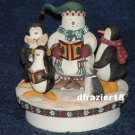 CAROLERS Jar Candle Topper Debbie Mumm Christmas Penguins Snowman Decoration