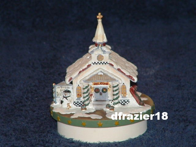 CHRISTMAS EVE CHAPEL Jar Candle Topper Debbie Mumm