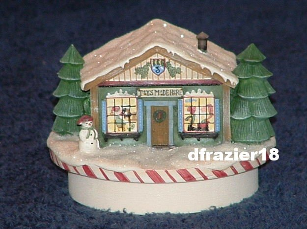SANTA TOY WORKSHOP Jar Candle Topper Debbie Mumm Christmas