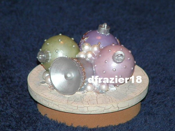 FANCY ORNAMENTS Jar Candle Topper Christmas Theme Decor