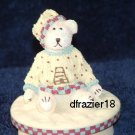 BOY TEDDY BEAR WITH BEEHIVE Jar Candle Topper Bee Hive