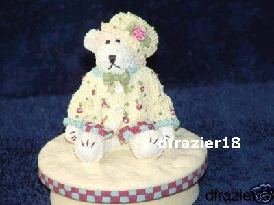 GIRL TEDDY BEAR WITH FLOWER DOTS Jar Candle Topper