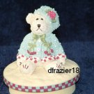 GIRL TEDDY BEAR WITH BERRY Jar Candle Topper Berries
