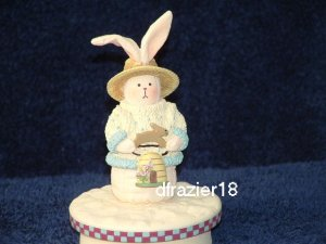 BOY BUNNY WITH BEEHIVE Jar Candle Topper Bee Hive Easter Rabbit