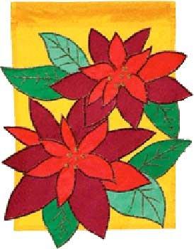 PASSION FOR POINSETTIA Toland Decorative Garden Flag Large Applique Christmas