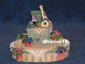 GARDEN CART Jar Candle Topper Hugger Base 2-pc Set