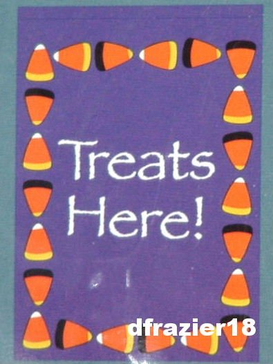 Halloween Hallowe'en Large Decorative Garden Flag Trick Or Treat Candy Corn TREATS HERE