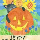 HALLOWEEN CAT Toland Decorative Garden Flag Mini Jack-O-Lantern Sunflowers