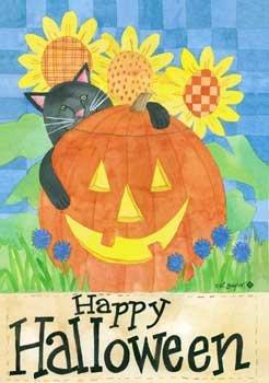 HALLOWEEN CAT Toland Decorative Garden Flag Mini Jack-O-Lantern Sunflowers